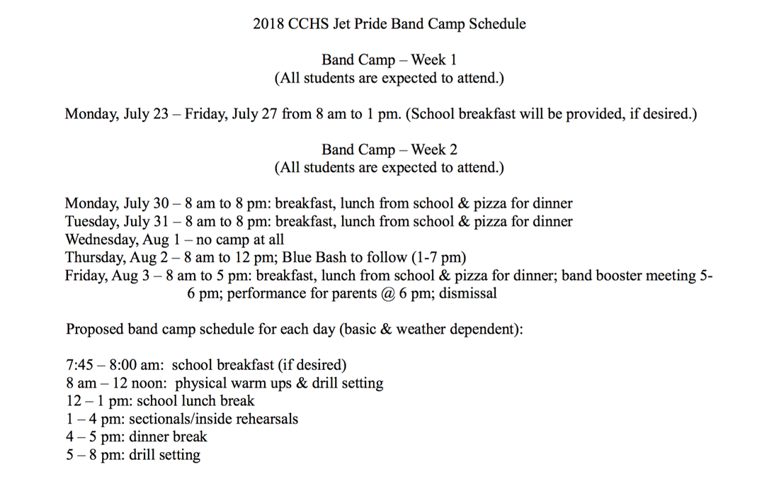 Band Camp Schedule